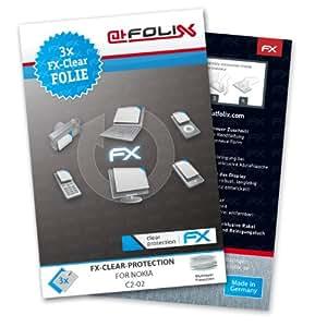 atFoliX FX-Clear - Protector de pantalla para Nokia C2-02 (3 unidades)
