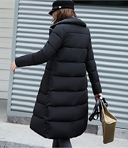 Jacket Coat Women's Bigood Long Winter With Parka Hooded Pocket Black Down Thick x0qY7qwH