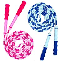 iRunning 2-Pack Kids Jump Ropes, Adjustable Skipping Rope with Soft Rubber Bead for Kids, Children and Students Keeping Fit, Training, Workout- 9 Feet (Pink, Blue)