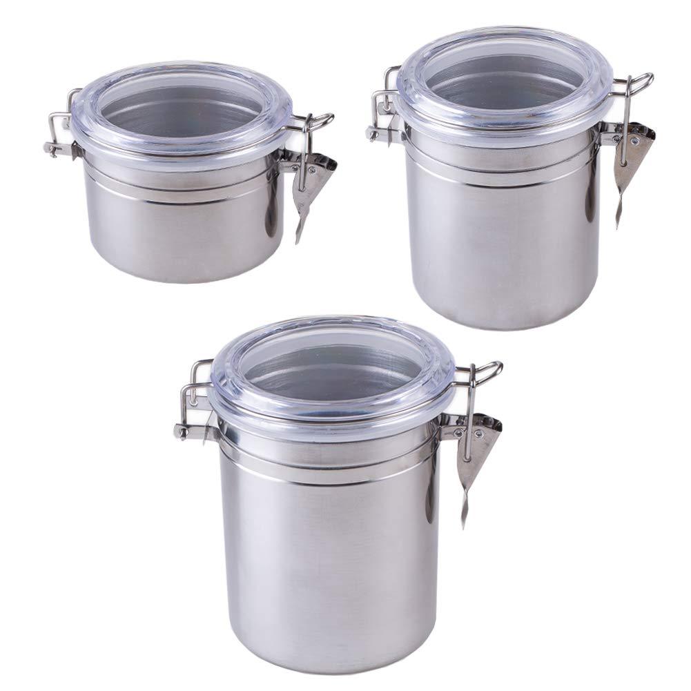 Syndecho 3 Pezzi Barattolo Contenitore in Acciaio Barattolo da Cucina per Caffè Cibo Secco Noccioline