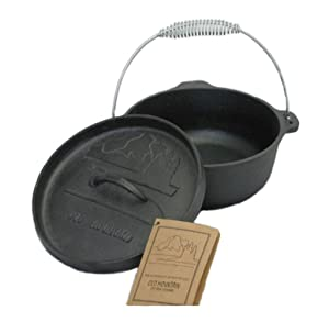 Old Mountain 10175 Pre Seasoned 2-Quart Dutch Oven with Flanged Lid, No Feet