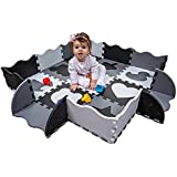 Wee Giggles Non-Toxic, Extra Thick Foam Baby Play Mat for Tummy Time and Crawling (Black/White)