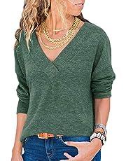 DanceWhale Damen Pullover Lose Einfarbig V-Ausschnitt Langarmshirt Oversized Strick Oberteile Tshirt Bluse Tops Grau XL