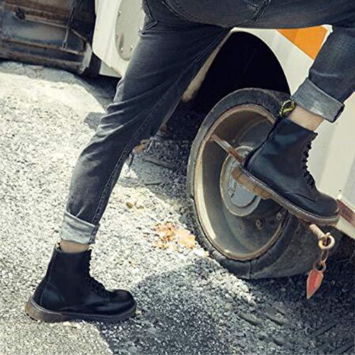 di Spessore Black Lavoro Leggera Punta Testa da Stivali Fondo Impermeabile Ginnastica Scarpe Stivali Pelle di Aiuto Alto Scarpe Acciaio Grosso da Alta Mens Stivali Martin 1w5xBnnqaS