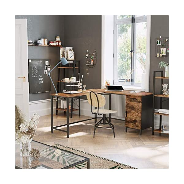 VASAGLE Bureau d'angle, Table en Forme de L, avec Placard de Rangement et tiroir, Peu encombrant, Montage Facile, Cadre…
