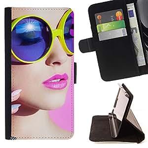 For Samsung Galaxy Note 4 IV Case , stil devushka makiyazh ochki- la tarjeta de Crédito Slots PU Funda de cuero Monedero caso cubierta de piel