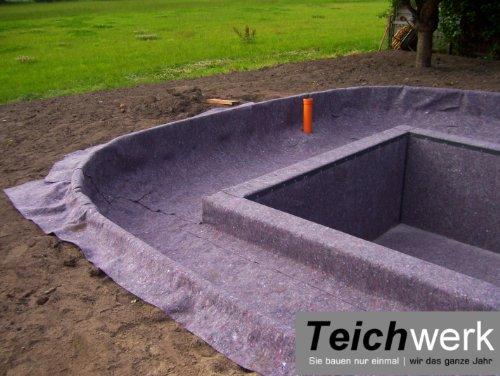 40 qm Teichvlies 300 g/qm | Premium Schutzvlies - 2 m breit x 20 m lang
