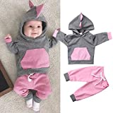 Fheaven (TM) Newborn Baby Boy Girl Winter Romper Jacket Pompom Hooded Jumpsuit Warm Thick Coat Outwear (6-12 Months, Gray)