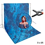 Lusana Studio Hand Dyed 6 x 9 ft. Blue Tie-Dye Muslin Backdrop Photo Video Studio Fabric Background Screen with Rod Pocket and Backdrop Support Clamps, LNA1042