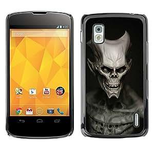 EJOY---Cubierta de la caja de protección la piel dura para el ** LG Nexus 4 E960 ** --Cráneo malvado