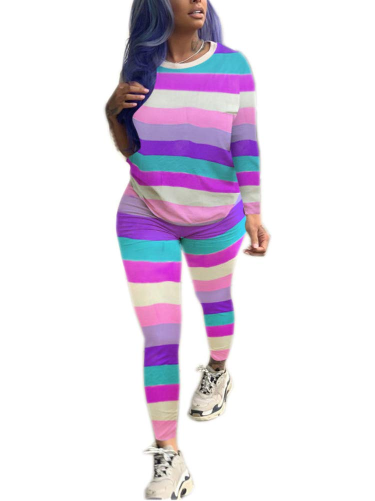Womens Stripes Two-Piece Outfit Tracksuit - Casual Long Sleeve Pullover Bodycon Jogger Pants Set Jumpsuit Rompers Purple by Uni Clau