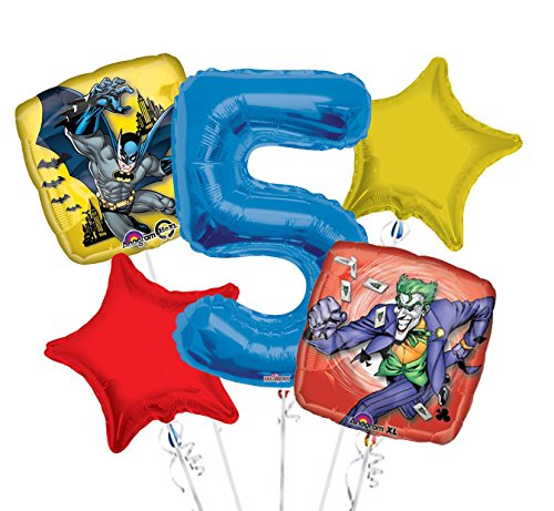 Batman and Joker Balloon Bouquet 5th Birthday 5 pcs - Party -