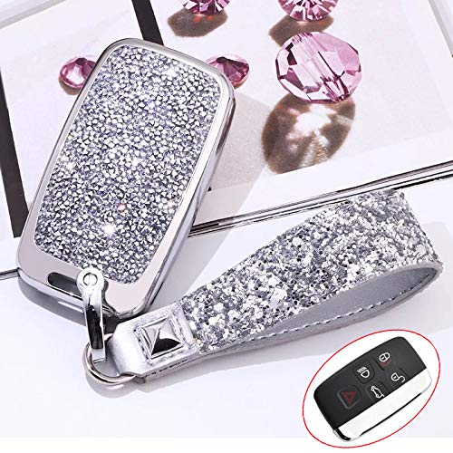 Royalfox(TM) 5 Buttons 3D Bling keyless Entry Remote Smart Key Fob case Cover for Land Rover Defender Discovery Sport LR2 LR3 LR4 Range Rover Sport EVOQUE and Jaguar XF XJ XJL XE F-PACE (Silver)