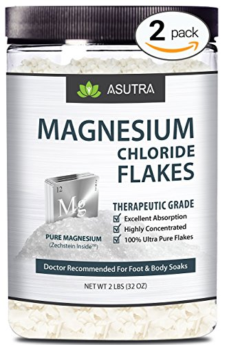 ASUTRA Pure Zechstein Magnesium Chloride Flakes - Doctor Recommended For Foot & Body Soaks + FREE Magnesium E-Book, 2-Jar Value Pack (4 lbs) (Mineral Foot Salts)
