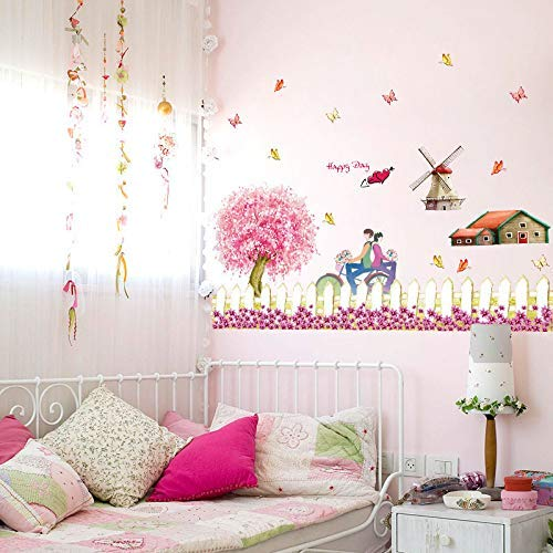 - LJLQ Wall Sticker Design Fence Windmill Pattern Pastoral Style Farm Theme Decorative Decals DIY Home Decor
