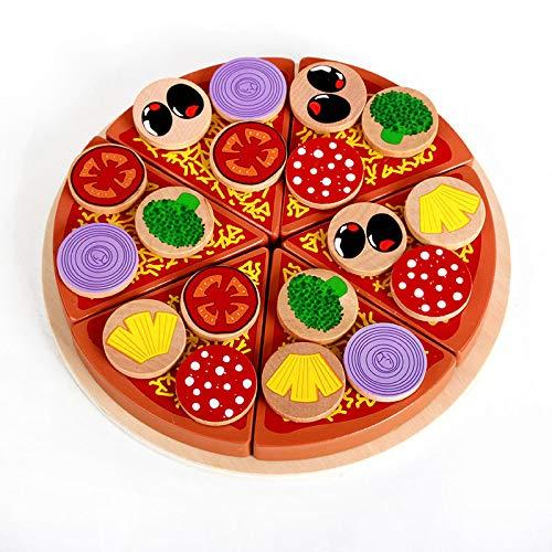 Pizza Party Juego de Madera de Alimentos simulado Pizza Juguete Intresting Pizza Juego de Alimentos HJDQ Juego de imaginaci/ón Set Pizza Autoadhesivas para los ni/ños