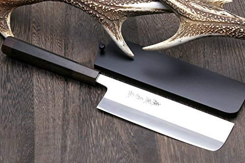 Yoshihiro High Speed Stainless Steel Nakiri/Usuba 6.5 IN Vegetable Chef's Knife (Shitan Rosewood Handle) by Yoshihiro