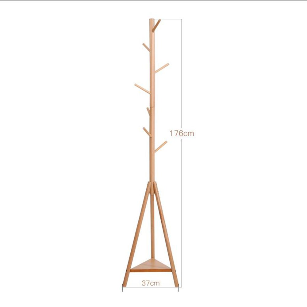 Beech walnut DQMSB Solid Wood Coat Rack Home Simple Clothes Hanger - Two Sizes and Multiple colors Coat Racks (color   Mahogany)