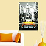 LaModaHome Decorative 100% MDF Wall Art 4 Panels with Rope Connection (20'' x 30'' Total) Ready to Hang Painting Taxi Car Street Times Square New York America Traffic