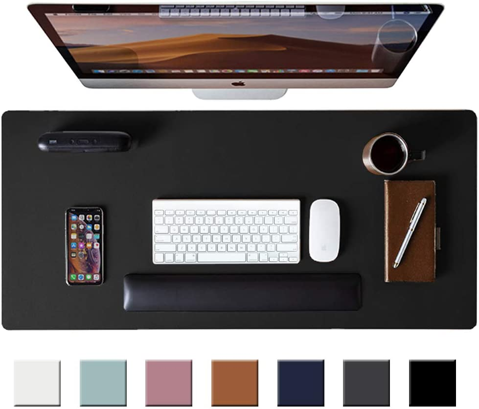 """Leather Desk Pad Protector,Mouse Pad,Office Desk Mat, Non-Slip PU Leather Desk Blotter,Laptop Desk Pad,Waterproof Desk Writing Pad for Office and Home (Black,31.5"""" x 15.7"""")"""
