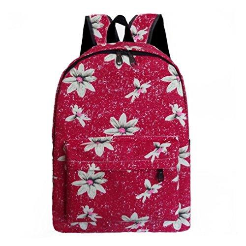 Clode® Mujeres mochila lona escuela bolso flor impresión mochilas bandoleras
