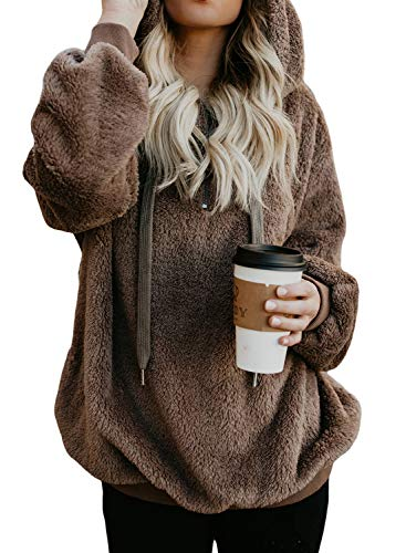 Douremifa Fleece Pullover Jackets Hoody Sweatshirts for Women 1/4 Zip Fall Fashion Ladies Outwear Coat Casual Loose Solid Fuzzy Sweater Brown S