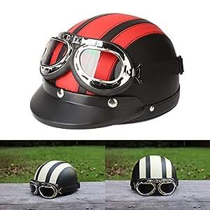 ViZe Cascos Moto Perno Medio Casco Abierto Motocicleta Unisex Protección Motocicleta Con Visera y Bufanda 54-60 cm (Rojo)