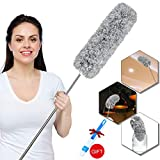 Microfiber Duster with Extension Pole (30 to 100 inches), Bendable Head, Washable, Lint Free Feather Dusters for Cleaning Car, High Ceiling Fan, Cobweb, Blinds, Keyboard, home cleaning