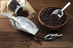 SIlver 4-Ounce New Star Foodservice 34660 One-Piece Cast Aluminum Flat Bottom Bar Ice Flour Utility Scoop