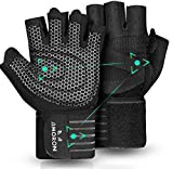 AMORON Weight Lifting Gym Workout Gloves with Wrist Wrap Support & Full Palm Protection for Men & Women, Ventilated Fingerless Gloves for Fitness, Weightlifting, Training, Hanging, Pull ups (L)