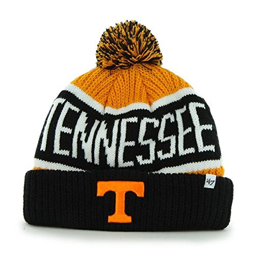 '47 Tennessee Volunteers Black Cuff Calgary Beanie Hat with Pom - NCAA Cuffed Winter Knit Toque Cap