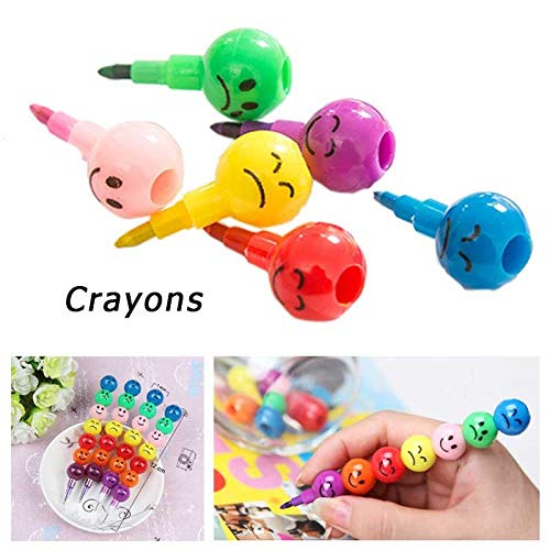 (Elevin(TM)  New 7 Colors Cute Stacker Swap Smile Face Crayons Children Drawing)