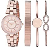 Anne Klein Women's AK/3286LPST Swarovski Crystal Accented Blush Pink and Rose Gold-Tone Watch and Bracelet Set