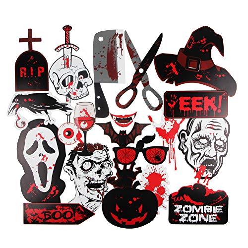 Halloween Photo Booth Props 22pcs DIY Spooky Party Favor Photo Booth Costumes Decoration Kit, Ghost Bats Brain Eyeball Skull Bloody Hand Cleaver]()