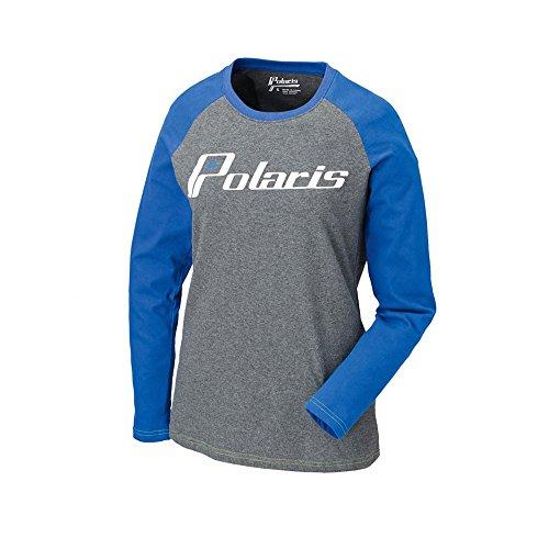 - Polaris OEM Womens Gray & Blue Baseball Long Sleeve T-Shirt - Large