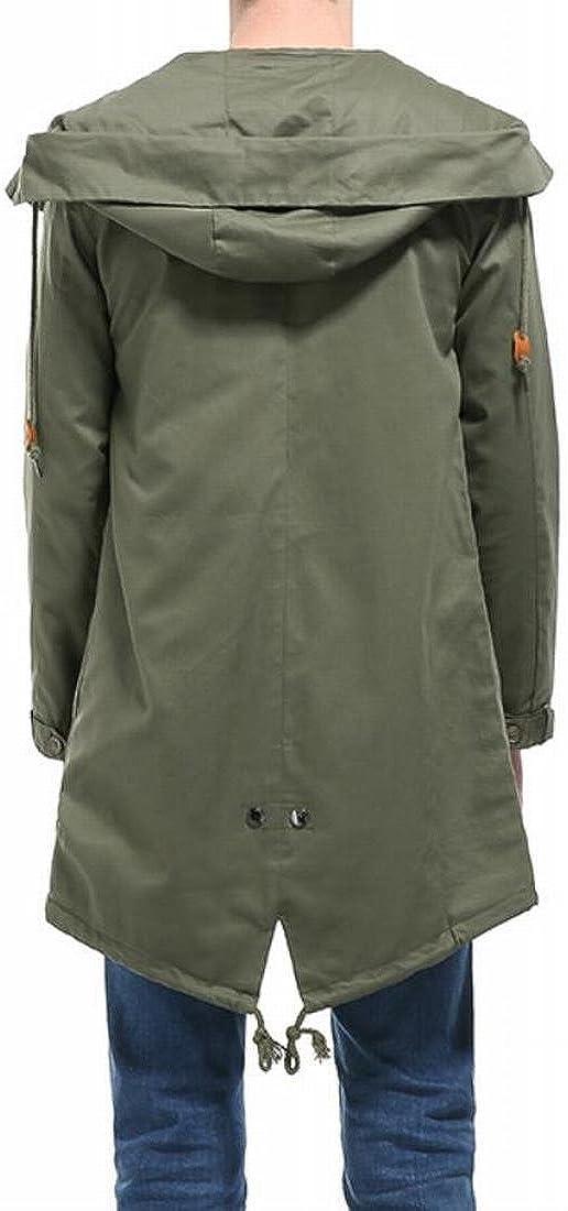 Twcx Mens Outwear Hoodie Zip-Up Windbreaker Mid-Long Trench Coats Jackets