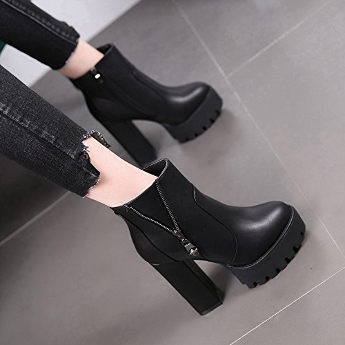 New Waterproof Coarse Europe MDRW And And With Female Winter Martin 12Cm Head The High Heels Rough And Boots Heels With Autumn Black Boots Velvet The Black A And aqzqBw