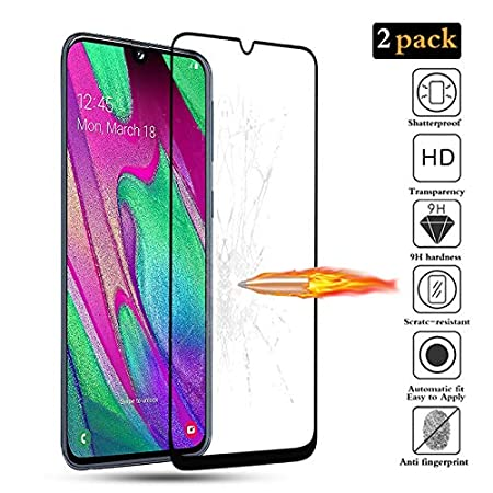 BESTCASESKIN [2-Pack Protector Pantalla Samsung Galaxy A40, Cristal Vidrio Templado de 3D [Cobertura Completa] HD Sin Burbujas, Alta Definicion, 9H ...