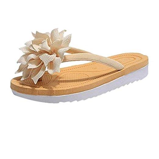 0a94aba32 Amazon.com  Dasuy Women s Clip Toe Flip Flops Wide Width Slipper Women  Flower Flats Sandals Pumps Bohemian Beach Prime Thong Shoes  Clothing