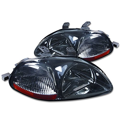 DNA MOTORING HL-OH-HC96-SM-AM Headlight Assembly, Driver and Passenger Side, Smoke Housing Amber Reflector