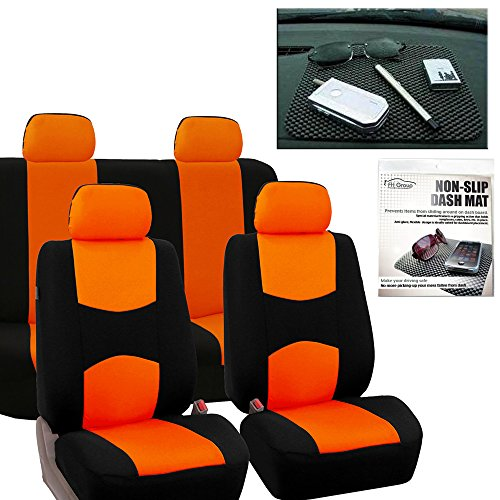 FH GROUP FB050114 Full Set Flat Cloth Car Seat Covers, Orange / Black w. FH1002 Non-slip Dash Grip Pad Mat - Fit Most Car, Truck, Suv, or Van