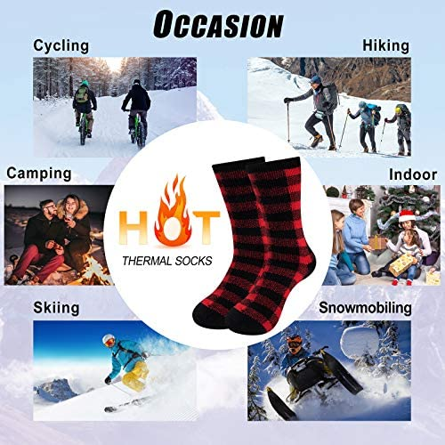 1-4 Pairs Thermal Socks for Men Thick Insulated Heated Socks Winter Warm Socks for Cold Weather