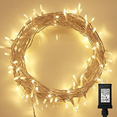 100 LED Indoor Fairy Lights w/ Remote & Timer on 36ft Clear String (8 Modes, Dimmable, Low Voltage Plug, Warm White)