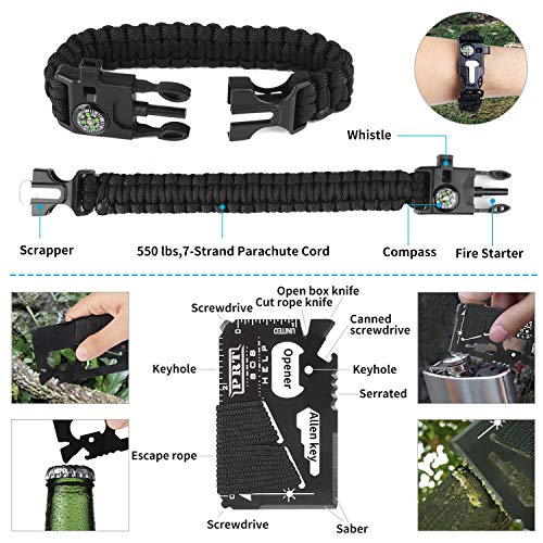 Jinager Survival Gear Kits Outdoor Survival Gear Tool for Trip,with Fire Starter, Whistle, Wood Cutter, Tactical Pen for…