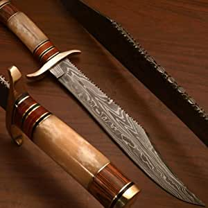 Massive Custom Hand Forged Damascus Hunting, Bowie Knife Bk-8490