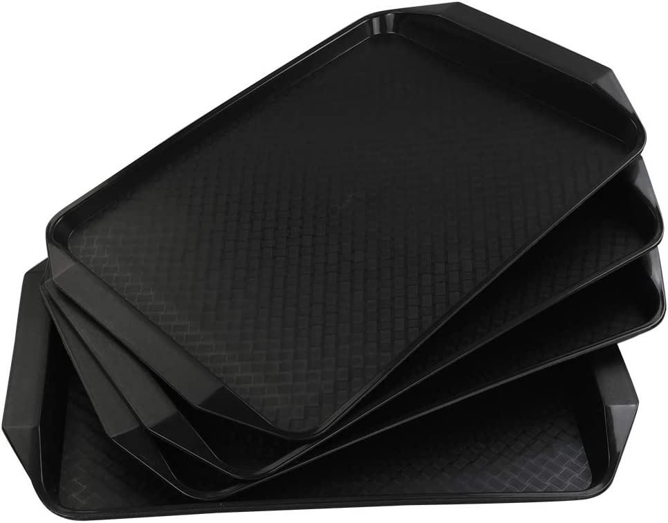 Vababa Black Plastic Fast Food Serving Trays, 4-Pack, 16.8-INCH x 12-INCH