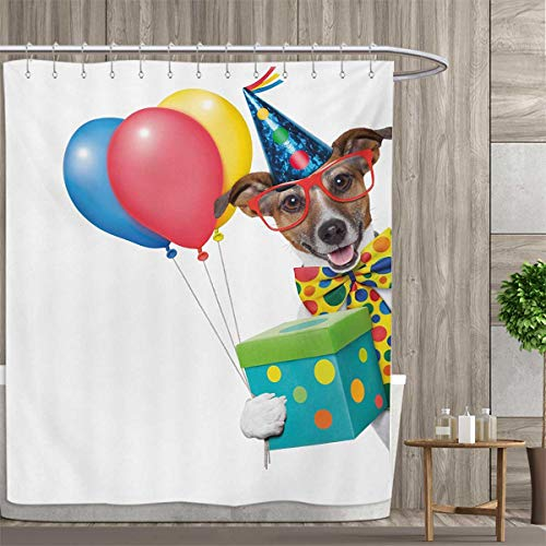 Kids Birthday Satin Fabric Bathroom Washable Colorful Balloons Boxes and Dots Print Dog Animal Puppy with Party Cone Print Shower Curtains Digital Printing 54