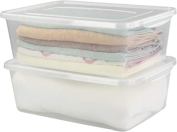 Ikando 15,5 L /16 Quart Caja de Almacenamiento de Plástico Grande Transparente con Tapa, 40 x 28,1 x 13,97 cm, 2 Unidades: Amazon.es: Hogar