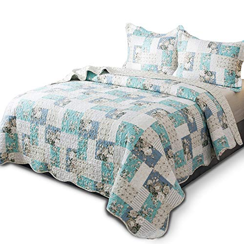 KASENTEX Country-Chic Printed Pre-Washed Quilt Set - Microfiber Fabric Quilted Pattern Bedding (Multi-Aqua Green, Queen + 2 Shams) (Aqua Bedding)