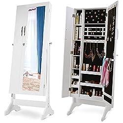 Merax Storage Jewelry Armoire Cabinet Free Standing Lockable Jewelry Armoire Jewelry Organizer with Mirror